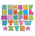 graffiti color fonts alphabet with shadow on white vector image vector image