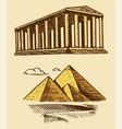 great pyramid giza and historical building vector image