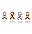 italian german belgian and french ribbons vector image vector image