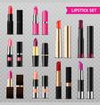 lipsticks assortment realistic set transparent vector image vector image