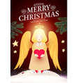 merry christmas cute background with angel fir vector image