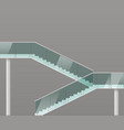 modern staircase with glass railings vector image