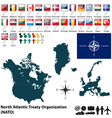 NATO map with flags vector image vector image