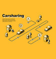 one-way carsharing service isometric poster vector image
