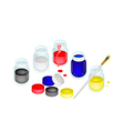 Open Color Paint Jars with Artist Brushes vector image vector image