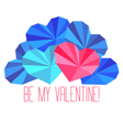 Origami paper hearts composition vector image
