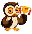owl holding championship trophy vector image vector image