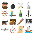 pirates icons set on white background vector image vector image