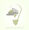 renewable energy of solar energy in bulb concept vector image vector image