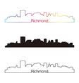 Richmond skyline linear style with rainbow vector image vector image