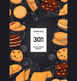 sale background with cartoon cookies on vector image vector image