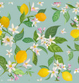 seamless lemon pattern with tropic fruits leaves vector image