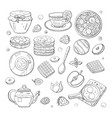 set black and white morning breakfast elements vector image vector image