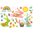 set isolated easter bunny and other elements vector image vector image