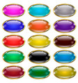set of glass oval buttons in a gold frame vector image