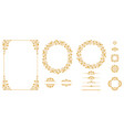 set of graphic elements for design in gold vector image vector image