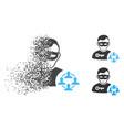 sparkle dot halftone social hacker icon with face vector image