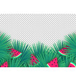 summer palm leaves with watermelon slices vector image vector image