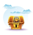 treasure chest on a background clouds vector image vector image