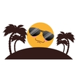 tree palms beach with sun character vector image