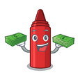 with money bag red crayon in a cartoon bag vector image