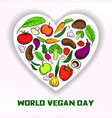 world vegan day concept background cartoon style vector image vector image