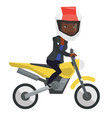 young african-american woman riding motorcycle vector image vector image