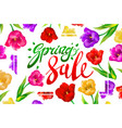 spring sale banner colotful tulips flowers white vector image