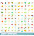 100 holidays icons set cartoon style vector image vector image