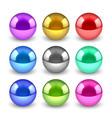 3d shiny metallic balls set vector image