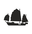 ancient ship with broad canvas black silhouette