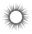 antique sun tarot astrological symbol sketch vector image vector image