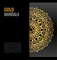 black poster with gold beautiful mandala golden vector image