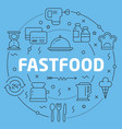 blue line flat circle fastfood vector image