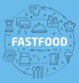 blue line flat circle fastfood vector image vector image