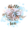Blue watercolor texture and octopus vector image vector image