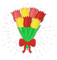 bouquet of seven red and yellow tulips with a red vector image