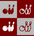 bowling sign bordo and white vector image vector image