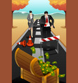 business people running on the road reaching a vector image