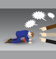 businessman kneeling with others pointing and vector image vector image