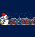 cartoon banner for holiday theme with snowman vector image