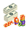 casino club money stack and poker chips vector image