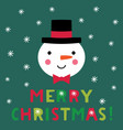 christmas card with a snowman face vector image vector image