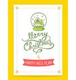 christmas card with green christmas snow vector image