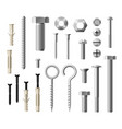 construction metal fasteners screws and bolts vector image