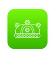 crown icon green vector image vector image