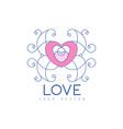 cute line logo design with ornamental heart vector image vector image