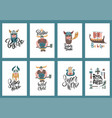 cute set a4 size vikings cartoon characters vector image