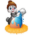 easter bunny sprinkle of paint on eggs in the nest vector image