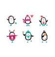 festive cartoon penguin set - christmas holiday vector image